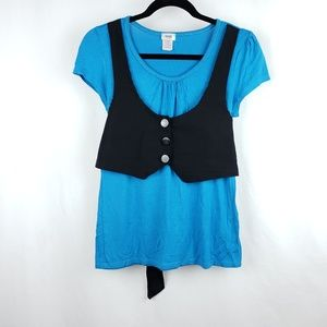 Short Sleeve Shirt with Faux Vest